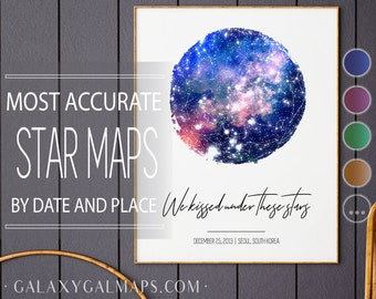 Star Map BY DATE, Star Map Personalised, Southern Hemisphere, Southern Star Sky, Space Art Print Theme, Space Decor Sky Night Map, Sky Atlas