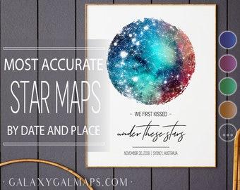 Custom Star Map • REAL Night Sky Map • Constellation Poster • Constellation Map • Star Map Print • Unique Gift • Celestial Watercolor Art