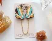 Crystal point collar pins Mermaid colorway - turquoise and gold | collar chain, collar pin