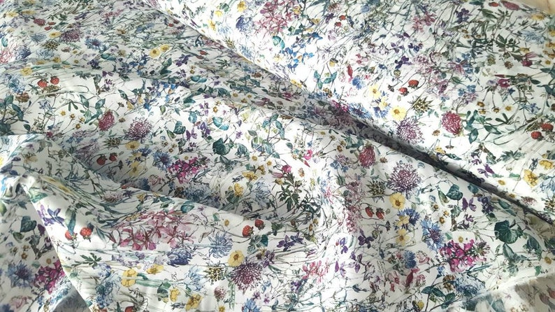 quilting dressmaking floral white Liberty ~ Wild Flower A Tana Lawn Fabric