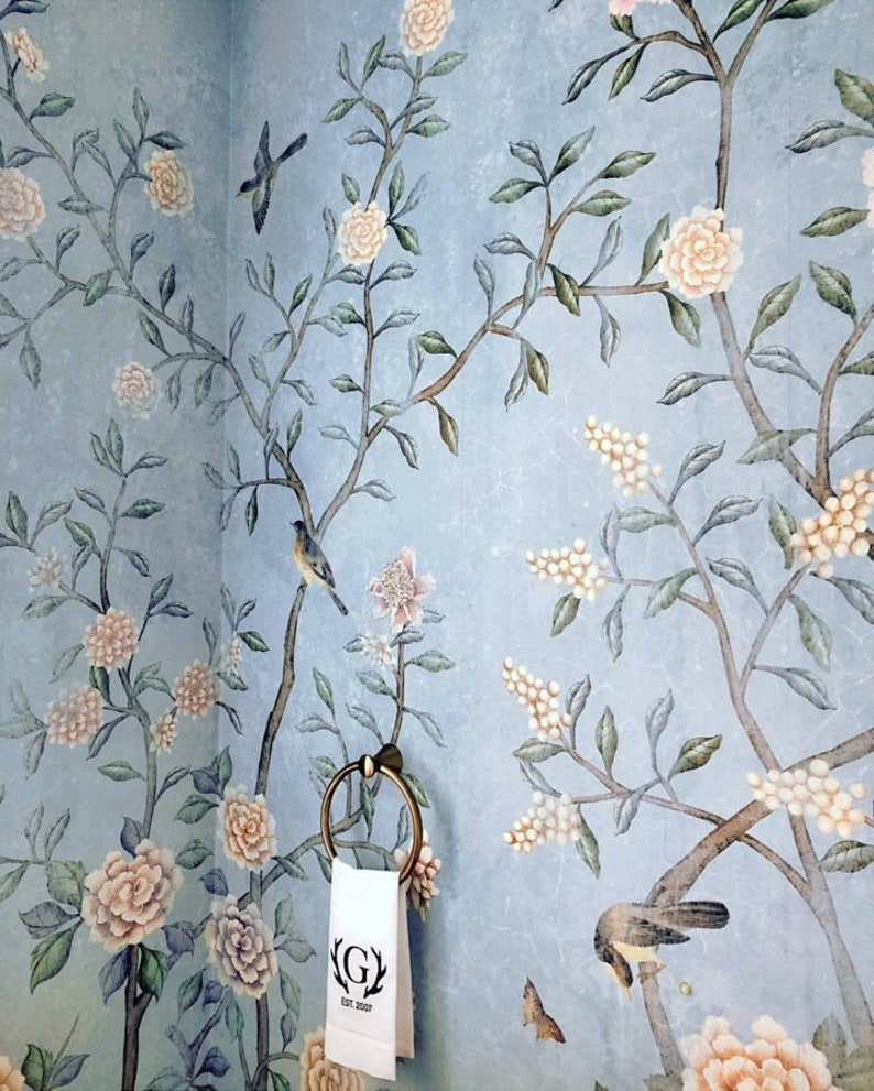 Aqua Blue Chinoiserie Wallpaper Flowering Branch Exotic Birds Etsy
