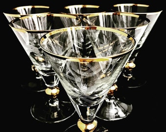 Water Glasses set 8 crystal gold 24 K plated Mid Century Vintage French Hollywood Regency bar cart home 50s cocktails glass mixology tool