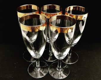 Champagne Glasses Gold Rim Flutes Greek Key gold Plated Engraved Toasting set 5 Gold Rimmed  Coup Mid Century French Vintage wedding gift
