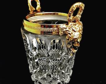 Ice Bucket heavy cut crystal with golden dragon handles Mid Century barware Mixology tools bar cart decor man cave gift Hollywood Regency