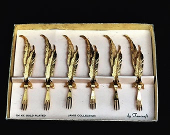 Cocktail Appetizer Forks Set of 6 Mid-Century 24k Gold Plated Forks Janis Collection by Tancraft Hors d'Oeuvre forks picks  in Original Box