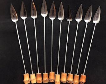 Cocktail spoons drinks ice cream bamboo handle stirrer vintage bar accessories boho bar tiki bar long coffee cold tea tools bohemian gift