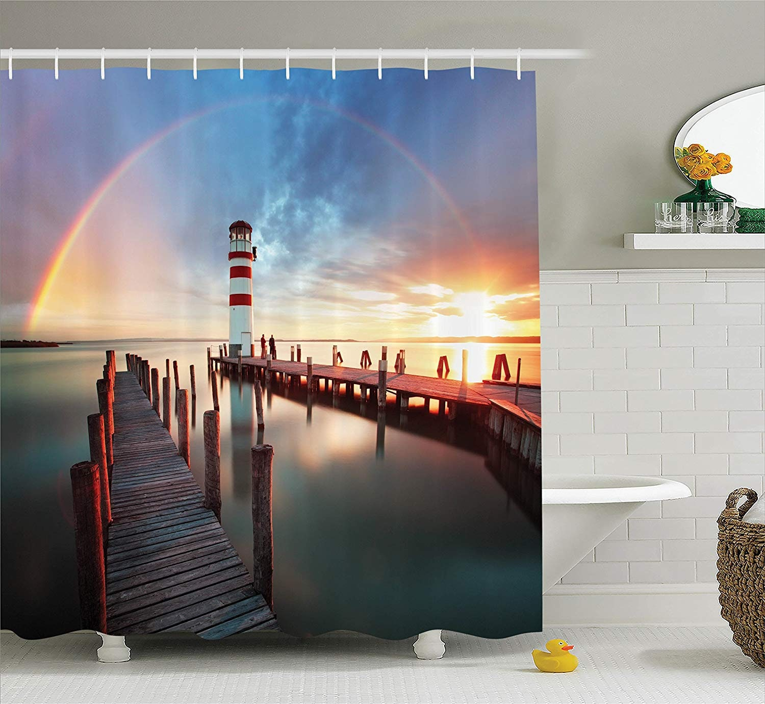 Lighthouse Decor Shower Curtain Set Sunset At Seaside With Wooden Docks Lighthouse Clouds Rainbow Waterfront Reflection Bathroom Accessories