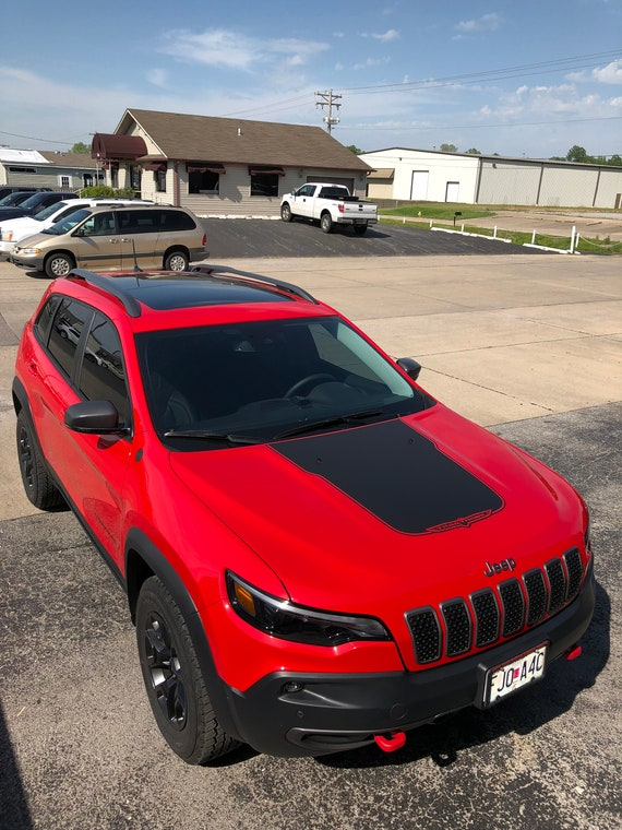 """PAIR OF RED JEEP TRAILHAWK VINYL DECALS STICKERS GRAPHICS 13/"""" X 2/"""""""
