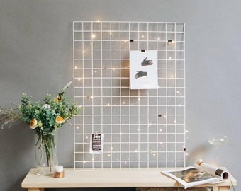 Wire Wall Grid Panel   Metal Moodboard + FREE CLIPS   Multifunction Photo Wall   Mesh Decor Display Memo Board Kitchen Notice Board