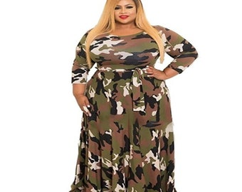 7379b27a129 Women s Plus Size Camouflage Designed Dress