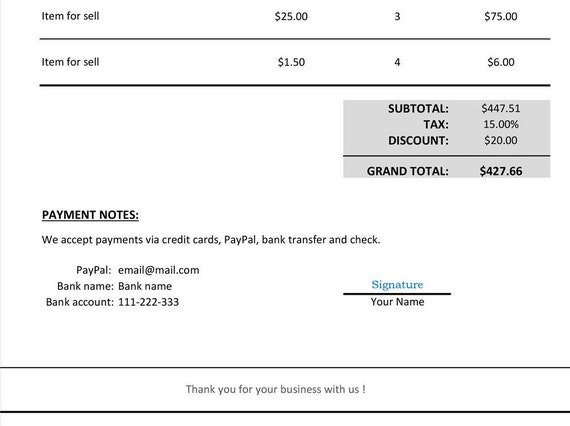 Invoice Template Excel Excel Invoice Template Spreadsheet Invoice Freelance Invoice Photography Invoice Microsoft Excel Template