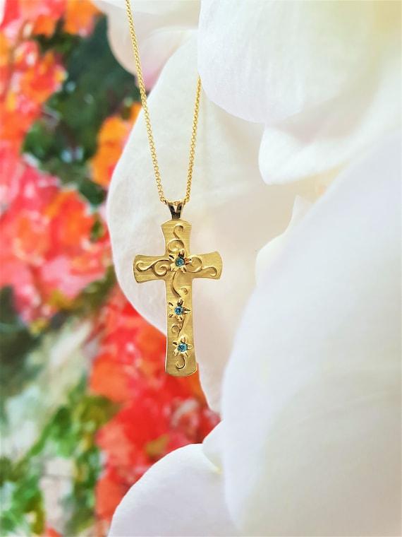 14k Yellow Gold Diamond Cross Pendant Width:17.7 mm Length:35 mm