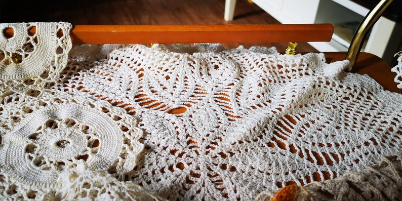Vintage white crochet doilies from the 70s hand made table centre,