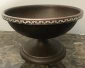 Antique Heintz Art Metal Sterling Silver on Bronze Footed Bowl 1868 Pat.Aug.27.12 9.5 quot Diameter, 6 quot Tall