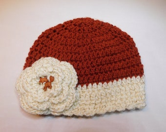 7ccf129a90289 Foxy Beanie or Ruffle with Rust Top and Sparkle Gold Trim adorable Fox  Button in Gold Sparkle Flower