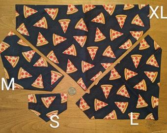 Reversible Over the Collar Dog Bandana - Fun Print - Pizza Print on Navy