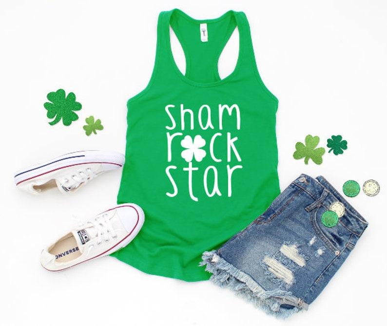 Patrick/'s Day Workout Shirt SHAMROCK STAR  Women/'s Racerback Tank Top  St