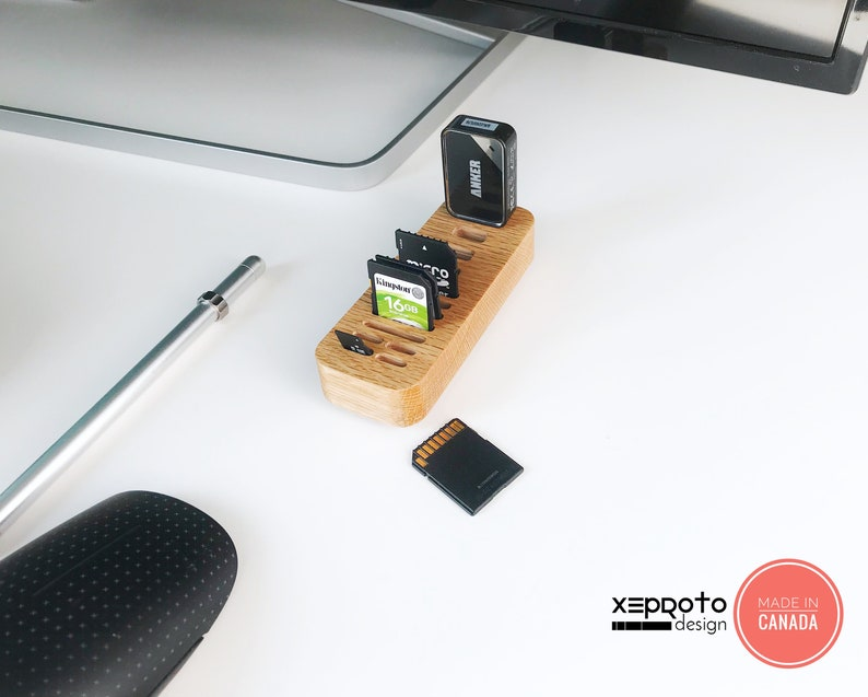 Wooden USB SD Card  & MicroSD Card Holder  Made Out Of Real image 0