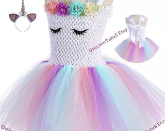 b00e753a41f4 Girls Unicorn Tutu Dress | Pastel Pink Blue White Tutu Dress | Birthday  Outfit | Unicorn Party | Unicorn Dress | Headband | Girls US 3 4 5 6