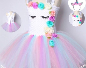 d459b94b39d6 Girls Unicorn Tutu Dress - Pastel Pink Blue White Tutu Dress - Birthday  Outfit - Unicorn Party - Unicorn Birthday - Headband - Dress Girls
