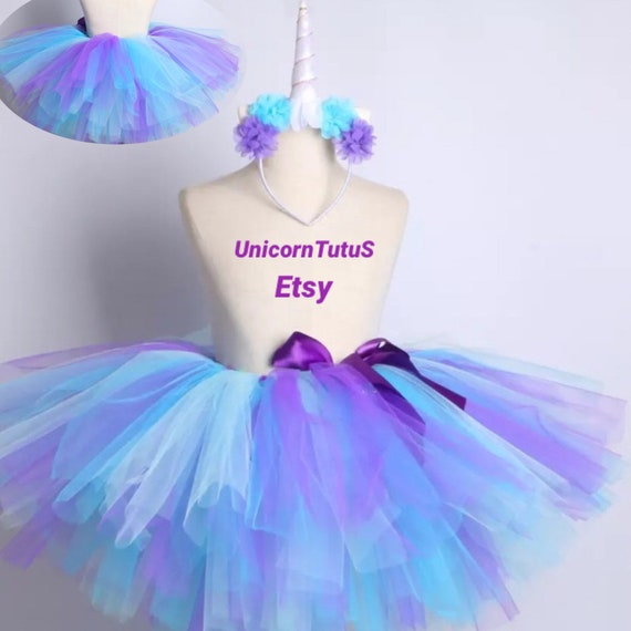 Girls Sparkly Tulle Dance Ballet Fancy Dress Tutu Turquoise,Purple Age 4-5