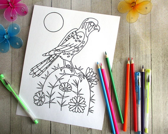 Sparrow Hawk Bird Coloring Page Bird Coloring For Kids And Tweens Digital Download Diy Wall Art For Kids All Original Drawing