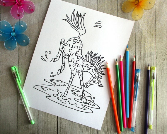 Horse Printable Coloring Pages Classroom Printable Horse Party Etsy