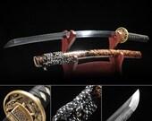 Rose Gold Cloud Theme Full Tang Hand Forged Real Japanese Katana Samurai Swords