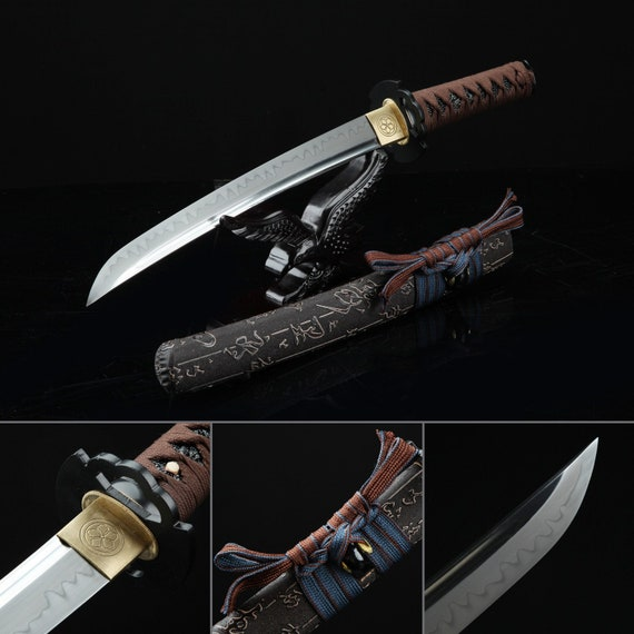 "16.5/"" Carbon Steel Blade Japanese Tanto Handmade Sword w// Painting on Scabbard"