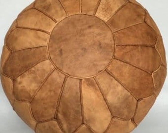 Magnificent Simpl Moroccan Pouf Naturel Saddle Tan Leather Pouf Ottoman 100 Leather Handmade Boho Style Ncnpc Chair Design For Home Ncnpcorg