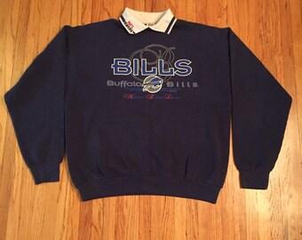 Vintage Cliff Engle Buffalo Bills Sweater with Collar 43ceb1ac3