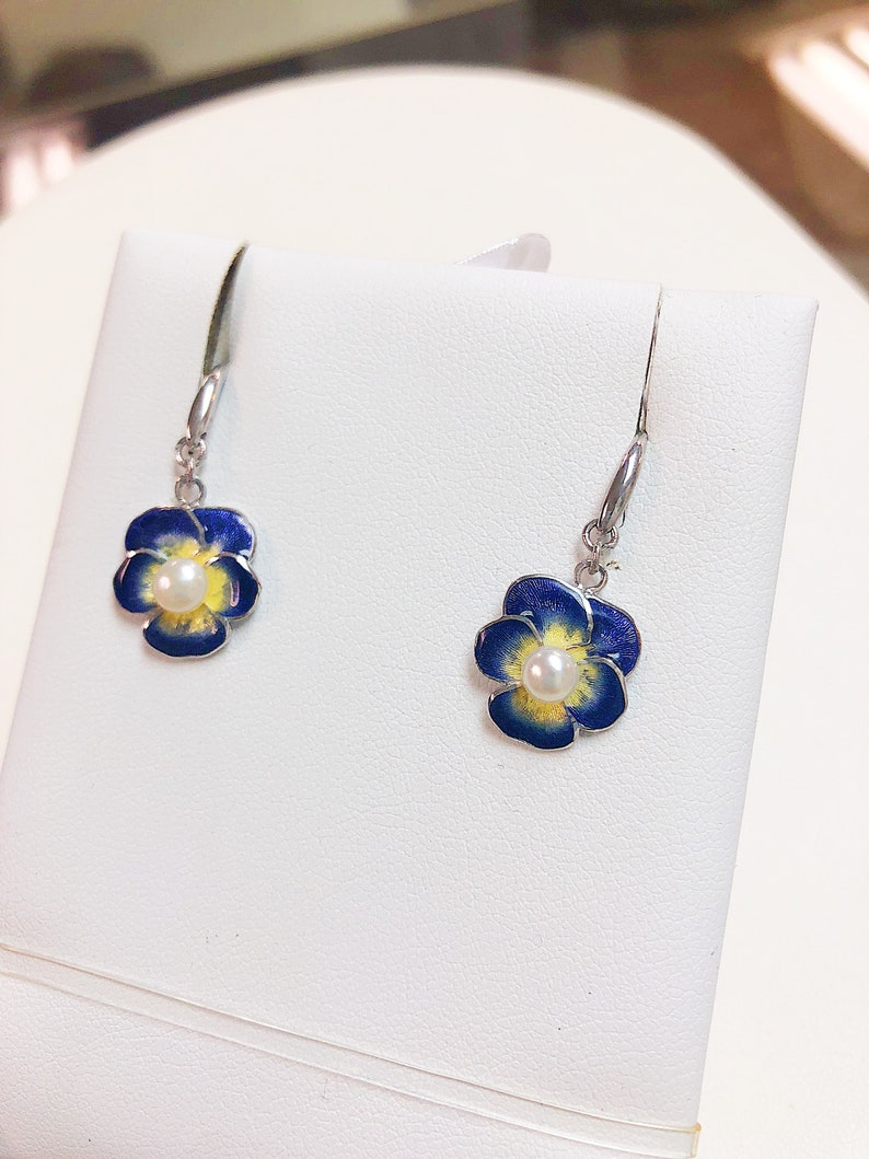 Hand Crafted Enamel Blue Pansy Earrings with Pearl Centers