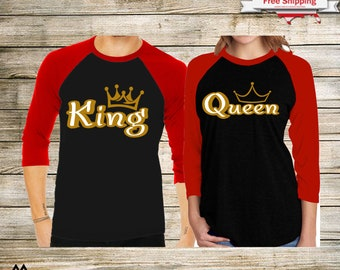 fbc0f06fa0 Gold King and Queen Couple Matching Raglan 3/4 Sleeve Baseball T-Shirts -  Cute Couple Outfit - Couple Shirts - Price for one