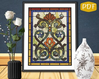 Victorian Style Stained Glass Counted Cross  Stitch/Needlepoint Pattern PDF Chart