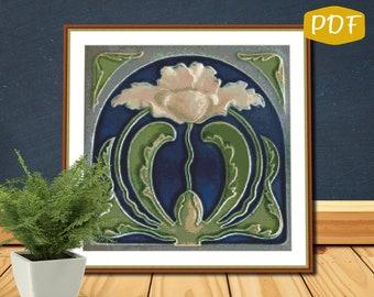 Art Nouveau Lotus Counted Cross Stitch/Needlepoint Pattern PDF