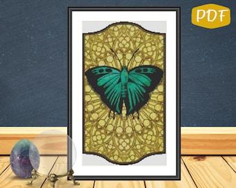 Art Nouveau Teal Butterfly Counted Cross Stitch/Needlepoint Pattern PDF Chart