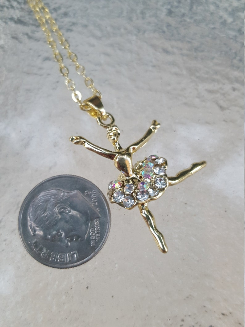 Dancer Rhinestone Ballerina Necklace Ballet Dancer Rhinestone Gold Plated Necklace Girls Gift Gold Plated Chain Necklace Made to Order