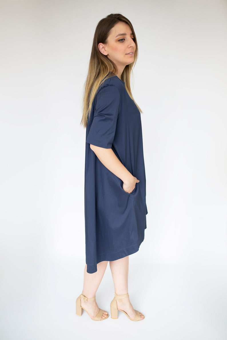 classic Dress with pockets women/'s dress short sleeve crisp Premium Quality cotton A Shaped classic Navy Dress easy dry No Iron needed