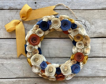 """Paper Flower Book Page, Midnight Navy, Mustard, Rust, Kraft, and Dusty Blue Rose Wreath 11"""""""