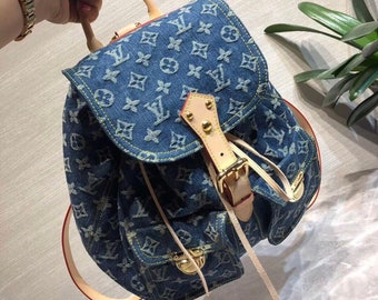 59f0dc8b5fe0 Custom Handmade Louis Vuitton Distressed Demin Backpack Women men Children  Bookbag
