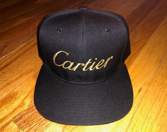 2d742e700db Cartier inspired custom embroidered snapback hat (Black w  Gold)
