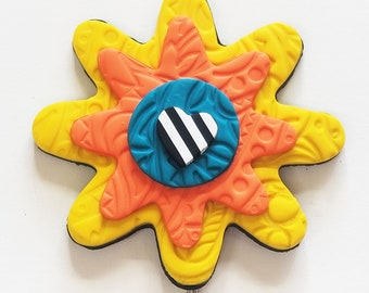 Yellow Small Flower Polymer Clay Garden Art by Kristi!, Year Round Color for Your Garden, Garden Flower, Friend Gift, Housewarming Gift
