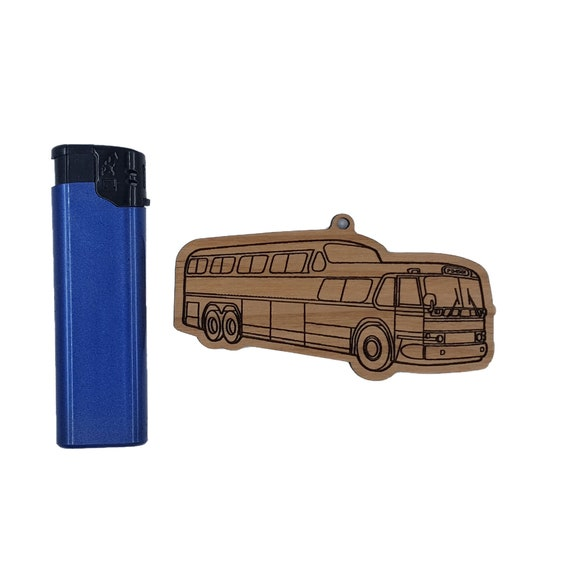 GM PD 4501 Scenic Cuiser Greyhound bus highway  Christmas ornament laser-cut ash