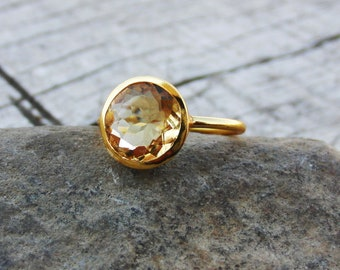 Solid 925 Sterling Silver Ring Citrine Gemstone Round Shape Ring Handmade Vintage Jewelry All Size Ring Birthstone Ring GESR-167E