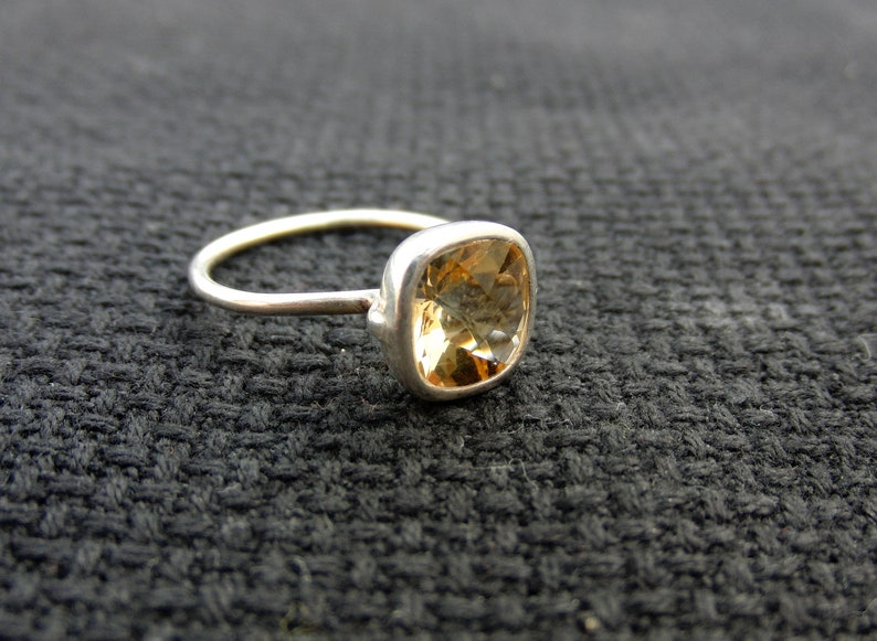Citrine Ring  Sterling Silver Ring  7 mm Cushion Ring  Gemstone Ring  Stackable Ring  Free Shipping  Promise Ring  Gold Vermeil Ring