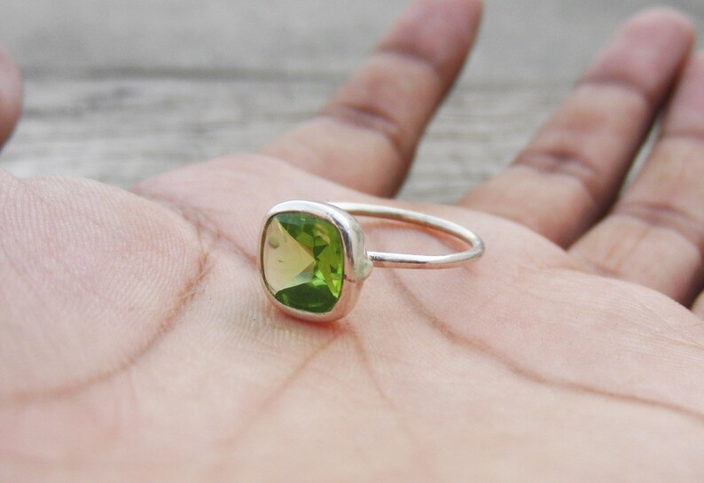 Valentines Day Gift Cushion Ring Peridot Ring August Birthstone Ring Handmade Ring Simple Ring Sterling Silver Ring Statement Ring