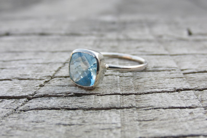 Natural Blue Topaz Ring 8 mm Cushion Ring Sterling Silver Ring Handmade Ring Ring For Women Beautiful Ring Natural Stone Promise Ring