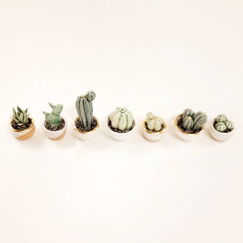 Miniature Ceramic San Pedro Cactus with Planter SAMPLE SALE