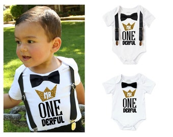 Mr Onederful Birthday Outfit Black and Gold with Bow Tie and Suspenders  First Birthday Shirt Cake Smash Picture 18e9b306b