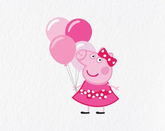e47f933d3c1 Peppa Pig Inspired Pink Balloon Birthday Pack diy create invitations SVG  PNG DXF Birthday Party Decoration Vector Clipart Tshirt Decal